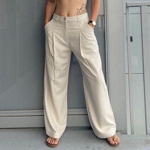 ASOS Cream Linen Blend Wide Leg Pants